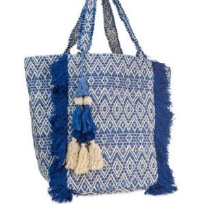 Blue & White Tapestry Canvas Tote with Fringe